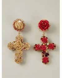 Dolce & Gabbana | Red Rose Crucifix Clip-on Earrings | Lyst