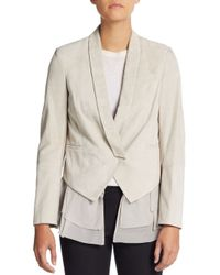 Brunello Cucinelli - White Suede & Silk Layered Vest Jacket - Lyst