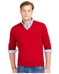 Polo Ralph Lauren | Red Big And Tall Merino V-neck Sweater for Men | Lyst