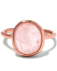 Monica Vinader - Pink Rose Gold-plated Rose Quartz Medium Siren Stacking Ring - Lyst