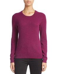 Lord & Taylor - Purple Petite Basic Crew Neck Cashmere Sweater - Lyst