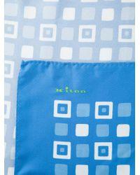 Kiton - Blue Square Print Handkerchief for Men - Lyst