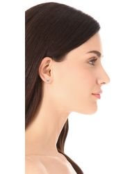 Sarah Chloe | Metallic Petite Jolie Diamond Stud Earrings - Clear | Lyst
