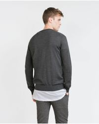 Zara   Gray Merino Wool Sweater for Men   Lyst
