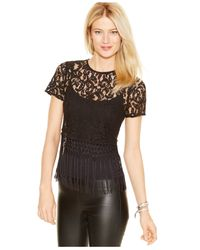 Michael Kors | Black Michael Lace Fringed Top | Lyst