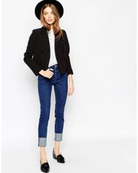 ASOS - Black Cropped Double Breasted Blazer - Lyst