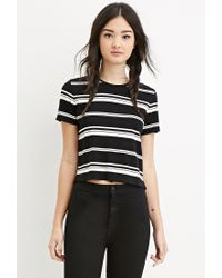 Forever 21 | Black Boxy Striped Tee | Lyst