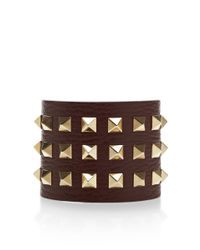 Valentino - Brown Studded Leather Cuff Bracelet - Lyst