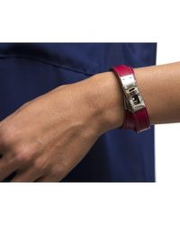 Hermès | Preowned Red Leather Silver Kelly Double Tour Bracelet for Men | Lyst