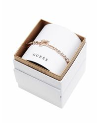 Guess | Metallic My In A Box Logo Stones Rose Gold-plated Bracelet | Lyst