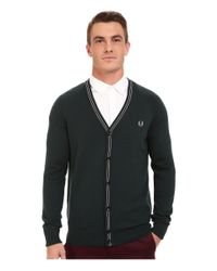 Fred Perry | Green School Tipped Cardigan for Men | Lyst