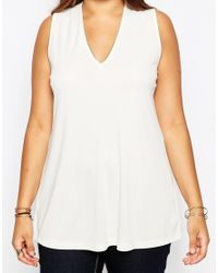 ASOS | Natural Tunic Top With Lace Up Back In Crepe | Lyst