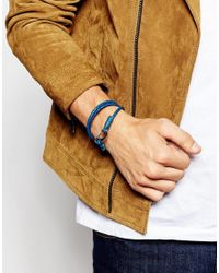 Seven London - Blue Wraparound Plaited Bracelet for Men - Lyst
