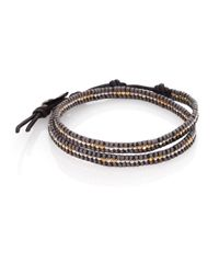 Chan Luu | Gray Two-tone Beaded Leather Double-row Wrap Bracelet | Lyst