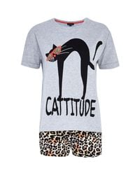 River Island - Gray Grey Cattitude Pajama Set - Lyst
