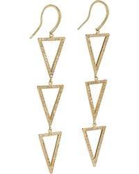 Jennifer Meyer | Metallic Pavé Diamond Gold Tripledrop Triangle Earrings | Lyst