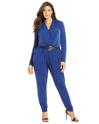 Michael Kors | Blue Michael Plus Size Long-sleeve Wrap Jumpsuit | Lyst