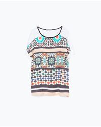 Zara | White Tile Print T-shirt | Lyst