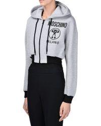 Moschino - Gray Zip Sweatshirt - Lyst