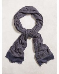 John Varvatos | Blue Cashmere Geometric Scarf for Men | Lyst