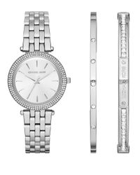 Michael Kors | Metallic Mini Darci Stainless Steel Watch And Bracelet Set | Lyst