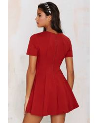 Nasty Gal - Red Rockwood Pleated Dress - Lyst