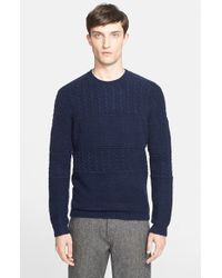 Norse Projects - Blue 'arild' Cable Knit Merino Wool Blend Sweater for Men - Lyst