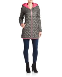 Betsey Johnson | Gray Quilted Zip Front Coat | Lyst