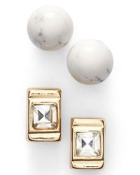 Anne Klein - Metallic Stud Earrings - Lyst