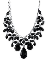 2028 | Silver-tone Jet Black Faceted Statement Bib Necklace | Lyst