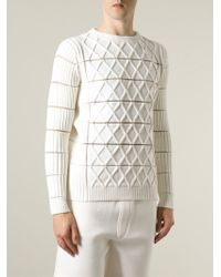 KENZO - White Geometric Knit Sweater for Men - Lyst