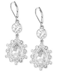 Nine West - Metallic Silver-Tone Crystal Large Drop Leverback Earrings - Lyst