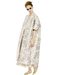Rochas - Natural Floral Embroidered Duchesse Nigel Coat - Lyst