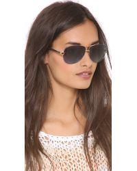 aa1a710a04 Tory Burch. Women s Metallic Aviator Sunglasses - Ivory Gold brown Gradient