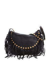 Valentino - Black Leather Studded Fringe Shoulder Bag - Lyst