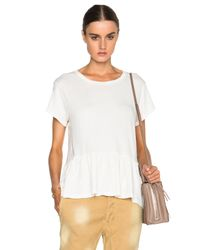 The Great - White Ruffle Tee - Lyst