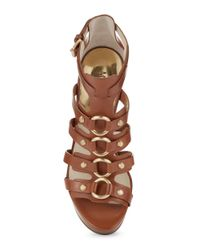 MICHAEL Michael Kors | Brown Nadine Platform Leather Wedge Sandals | Lyst