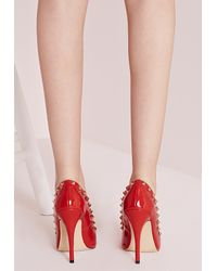 Missguided - Patent Studded Court Shoes Red - Lyst
