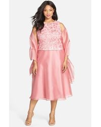 Alex Evenings | Pink Sleeveless Rosette Bodice Dress With Shawl | Lyst