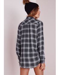 Missguided - Slim Checked Shirt Black/white - Lyst