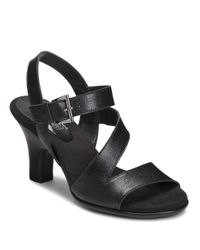 Aerosoles - Black Try Out Leather Sandals - Lyst