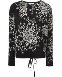 Chloé - Black Intarsia Flower Sweater - Lyst