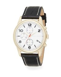 Ted Baker | Black Goldtone Stainless Steel & Embossed Leather Strap Chronograph Watch | Lyst