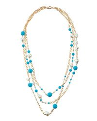 Kenneth Jay Lane | Blue Three-row Turquoise-hue & Pearly Bead Necklace | Lyst
