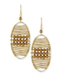 Panacea | Metallic Golden Beaded Wire Wrap Earrings | Lyst