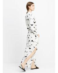 Vince - White Drawstring Printed-Silk Maxi Dress  - Lyst