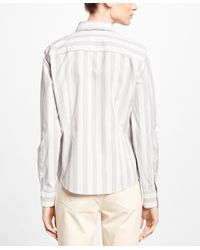 Brooks Brothers - Gray Non-iron Fitted Stripe Dress Shirt - Lyst