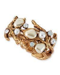 Oscar de la Renta - Metallic Pearlbeaded Coral Bracelet - Lyst