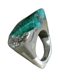 Pasionae | Metallic Piety Emerald And Sterling Ring | Lyst