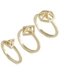 French Connection | Metallic Gold-tone Mini-geometric Set Of 3 Rings | Lyst